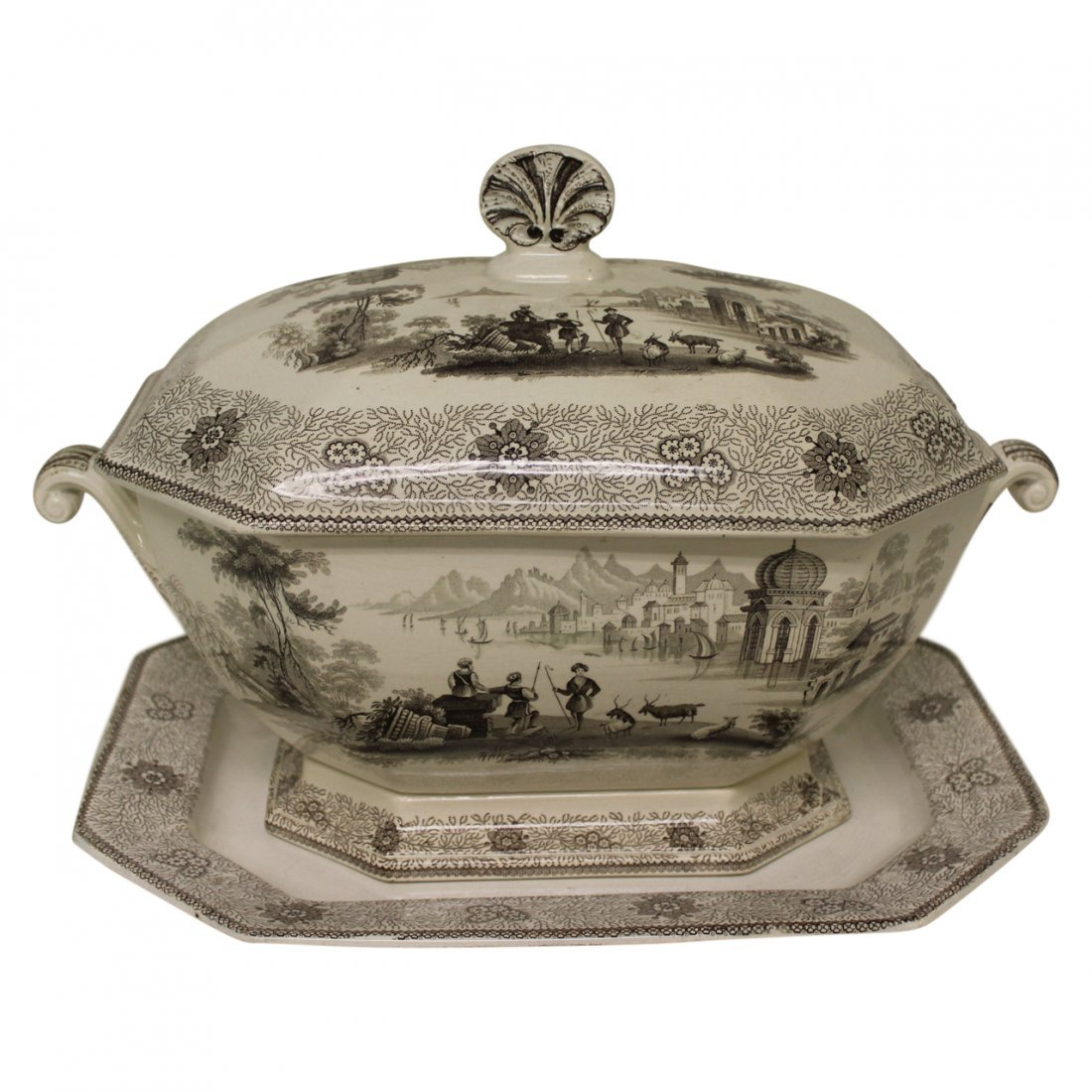 Large 19th Century Pearlware Soup Tureen w Underplate