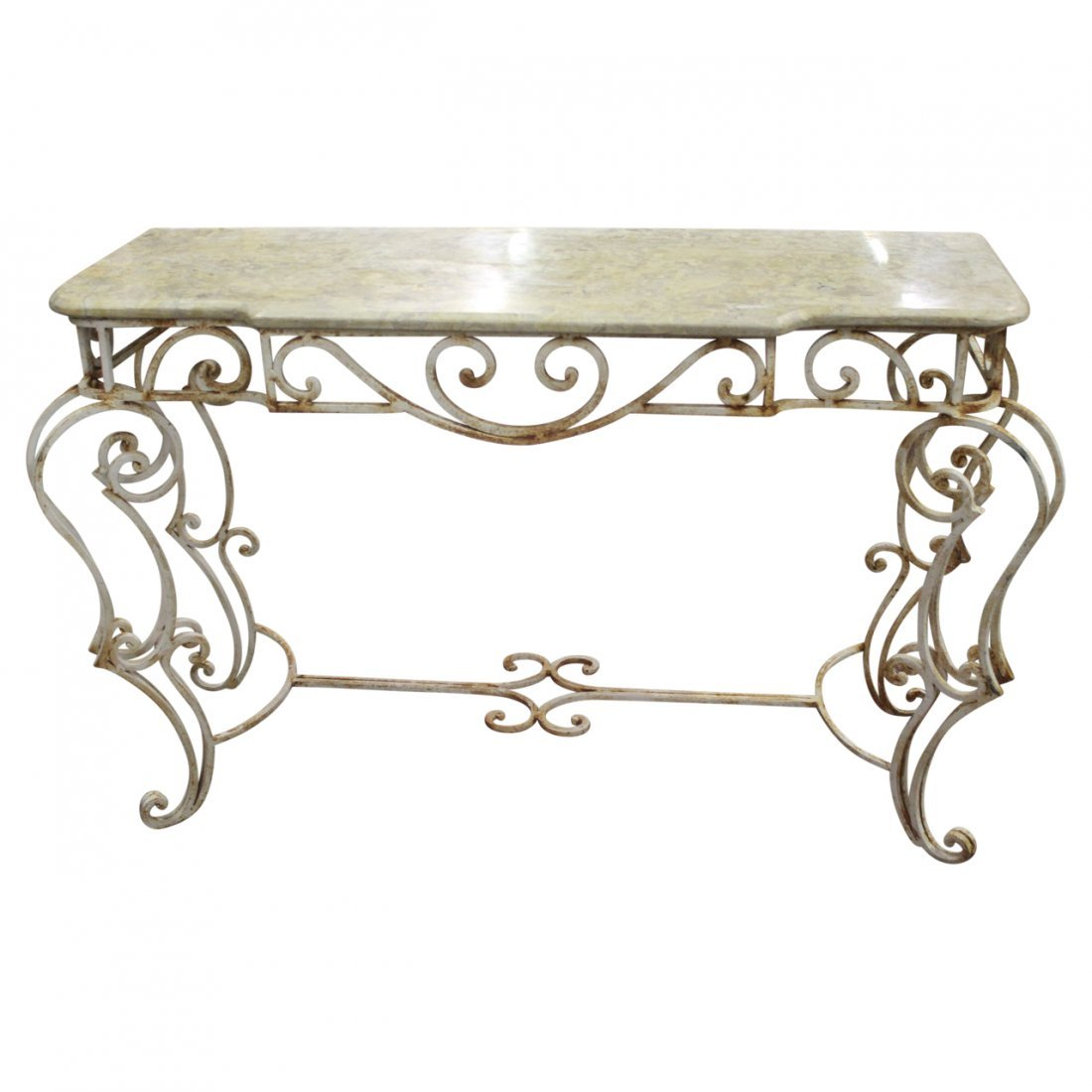 Serpentine Marble and Wrought Iron Credenza