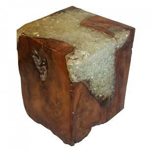 Mid Century Modern Teak & Resin Wood cube