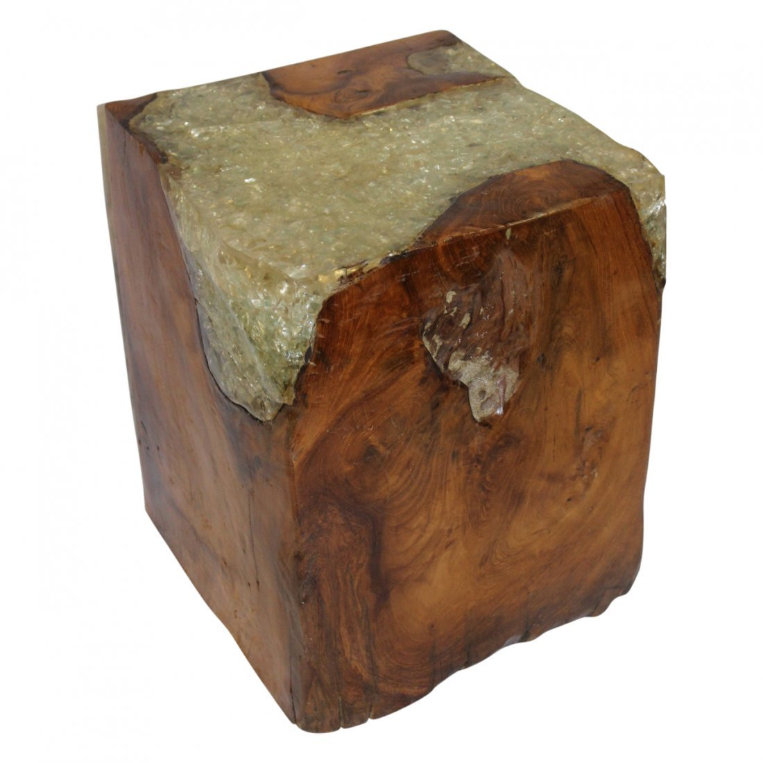 Mid Century Modern Teak & Resin Wood cube - 2