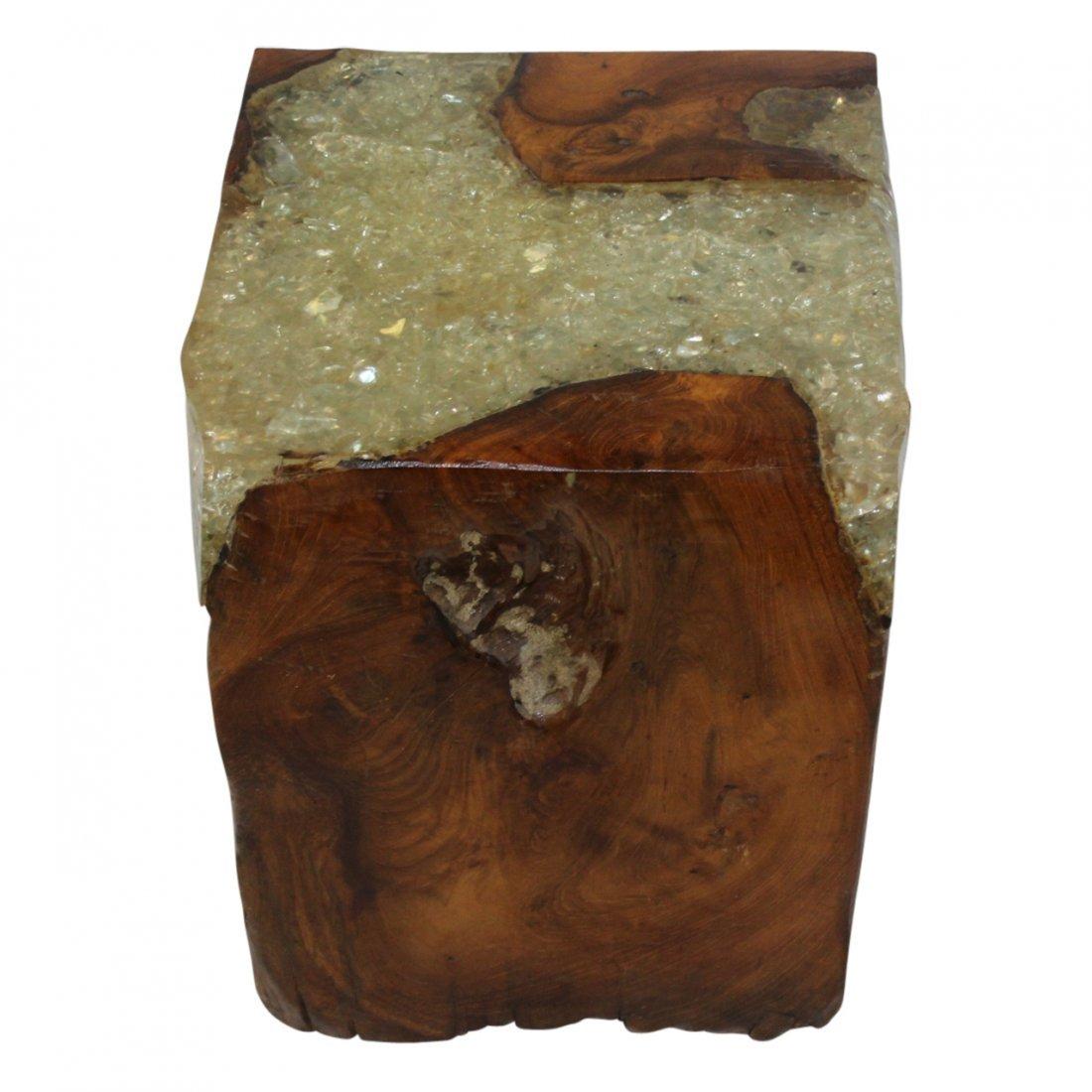 Mid Century Modern Teak & Resin Wood cube - 3