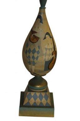 MCM Hand Painted Harlequin Lamp - 3