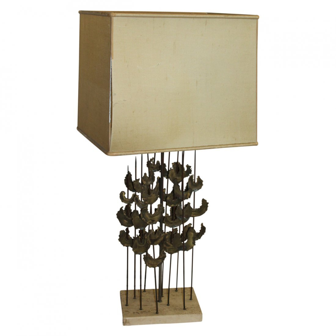 MCM Stone and Brass Lamp in the Manner of Bertoia