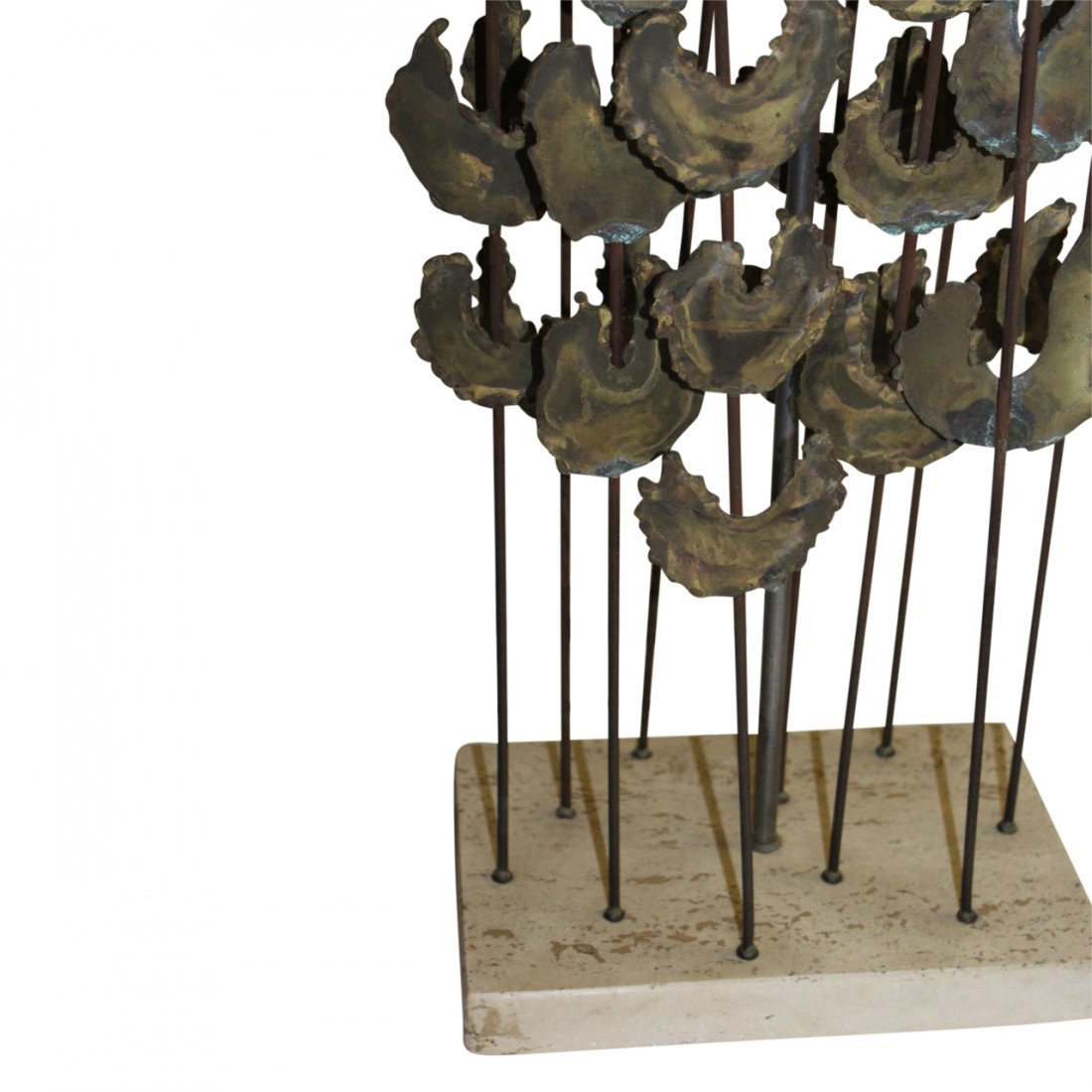 MCM Stone and Brass Lamp in the Manner of Bertoia - 3