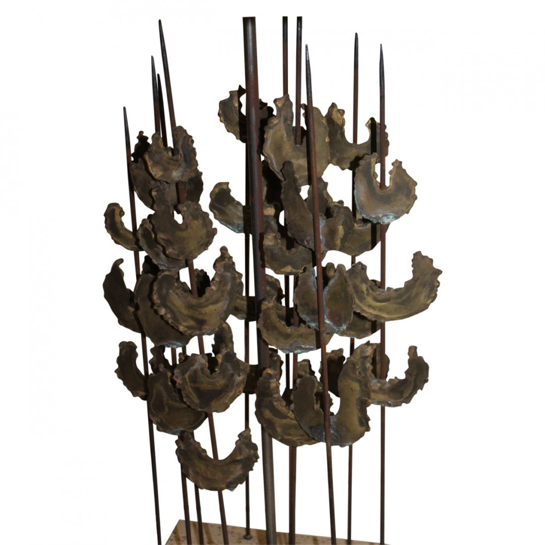MCM Stone and Brass Lamp in the Manner of Bertoia - 4