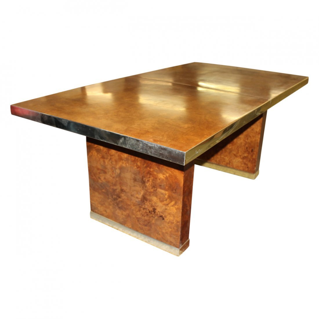 Pierre Cardin Burl Wood and Brass Dining Table