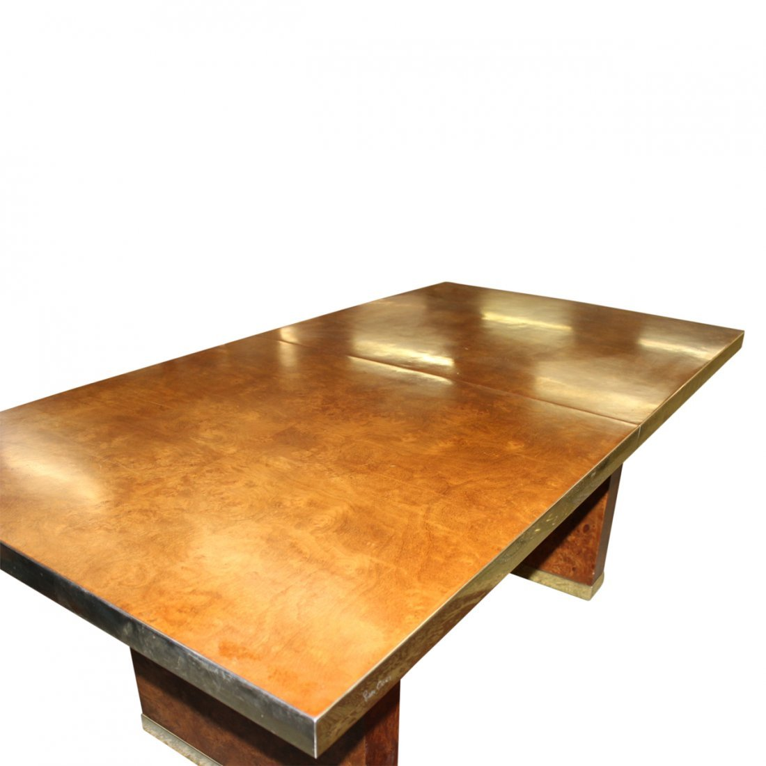Pierre Cardin Burl Wood and Brass Dining Table - 3