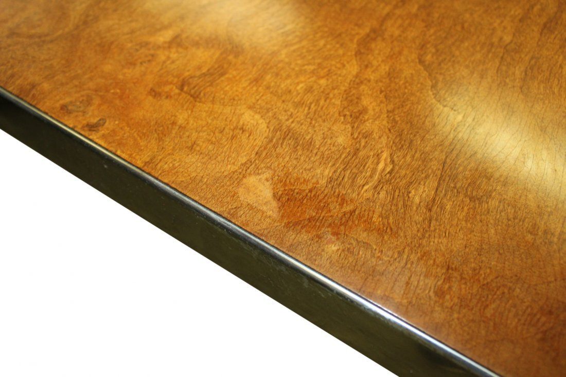 Pierre Cardin Burl Wood and Brass Dining Table - 4