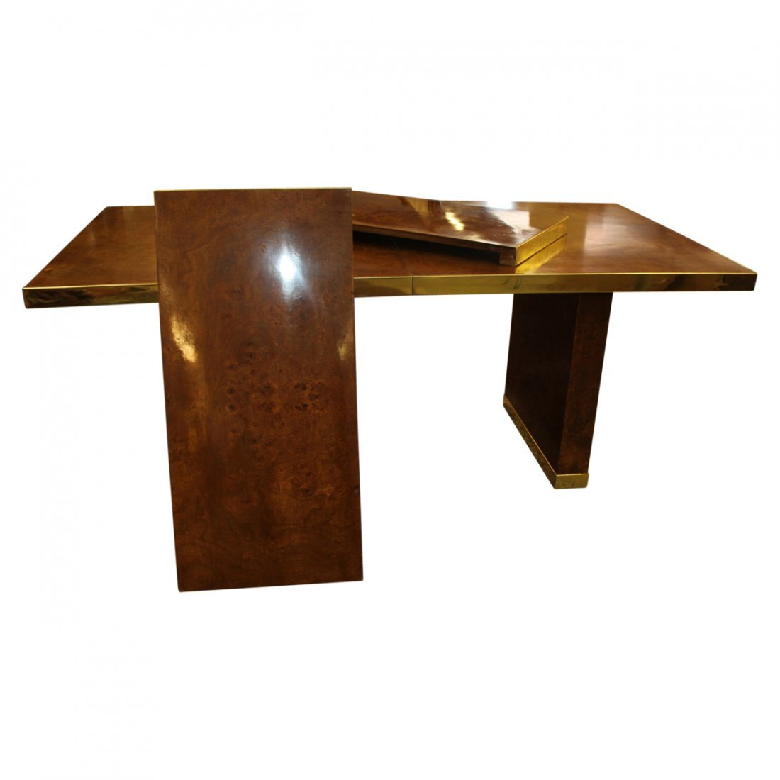 Pierre Cardin Burl Wood and Brass Dining Table - 5