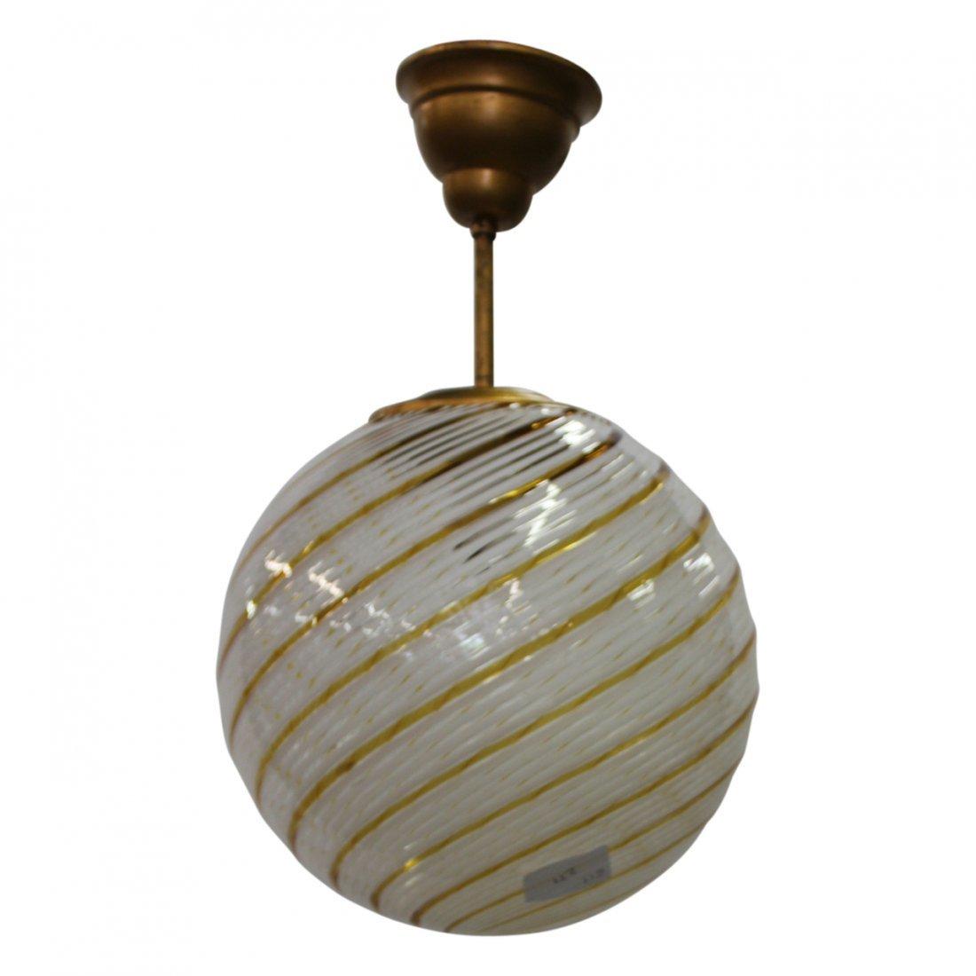 Venini Amber Swirl Murano Glass Sphere Chandelier