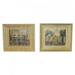 Pair of French MCM Oil on Board Paintings by Bessee