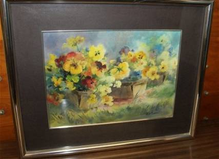 Watercolor Painting of Pansies by Ruth Baderian