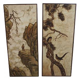 Pair of Large Chinese or Japanese Paintings on Canvas
