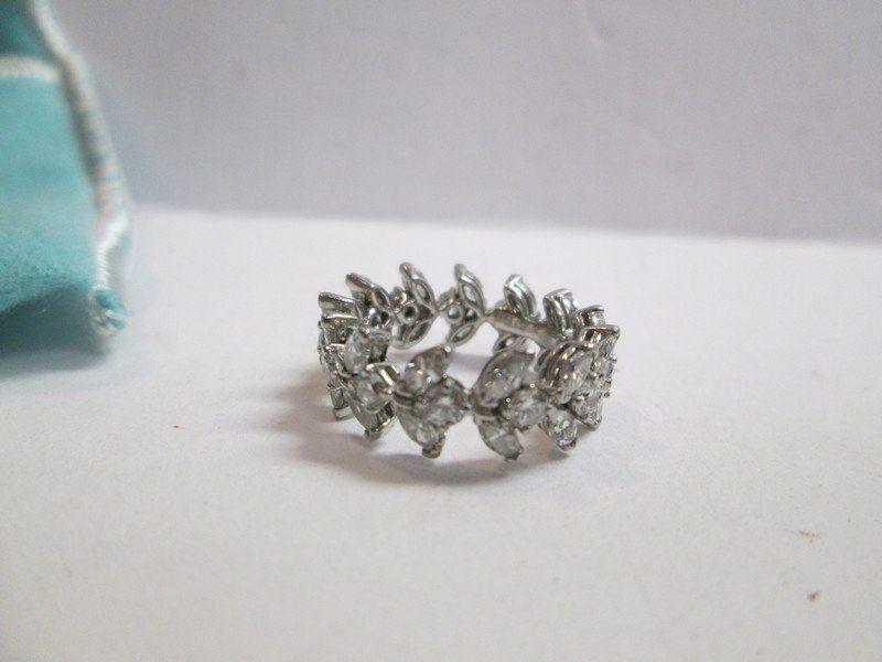 Tiffany Platinum Diamond Ring Band of Flowers