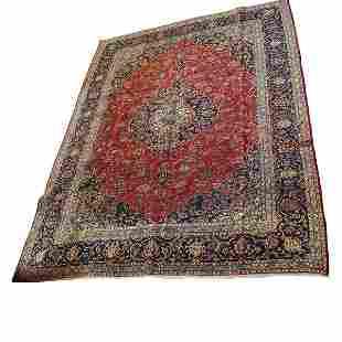 Vintage Room Size Kashan Persian Carpet
