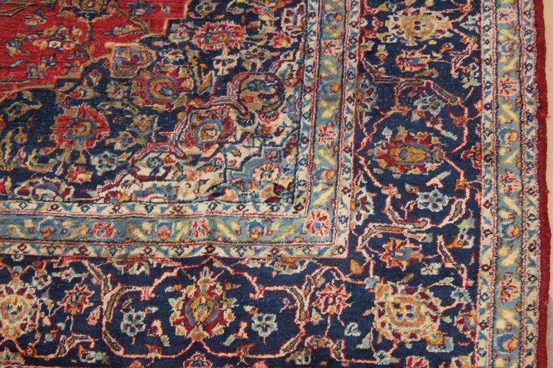 Vintage Room Size Kashan Persian Carpet - 3