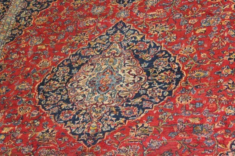 Vintage Room Size Kashan Persian Carpet - 4