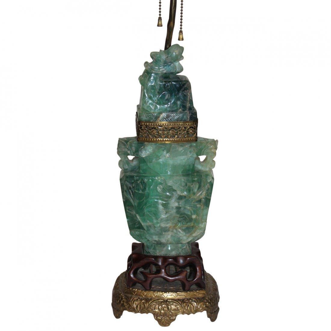 Fluorite Antique Chinese Vase Lamp