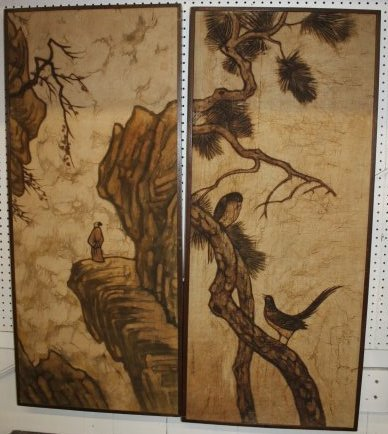 Pair of Asian Paintings on Canvas Mounted on Board