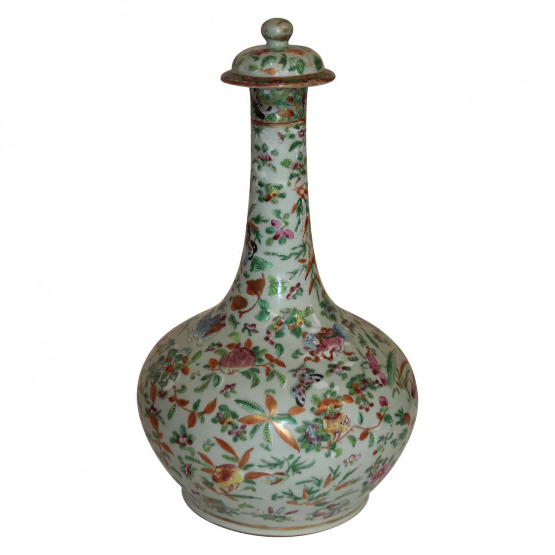 Fine Large Chinese Famile Rose Antique Vase with Lid