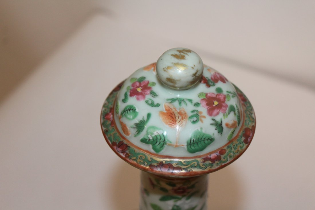 Fine Large Chinese Famile Rose Antique Vase with Lid - 2