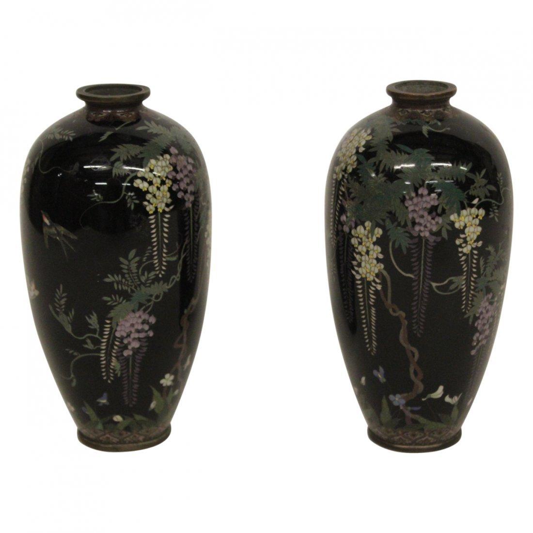 Pair of Antique Japanese Cloisonné Vase