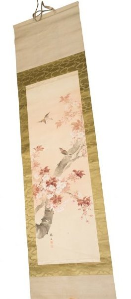 Chinese Antique Scroll of Sparrows