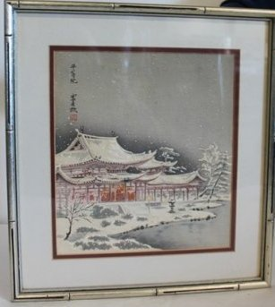 Japanese Wood Block Snow Scene