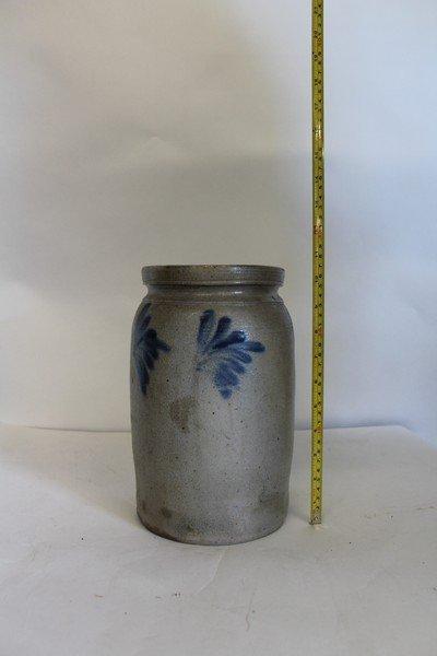 2 Antique Stoneware Crock with Blue Decoration - 3