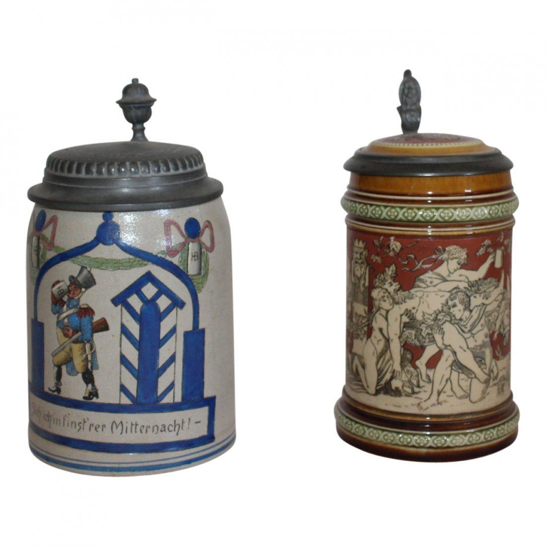 2 Antique German Steins