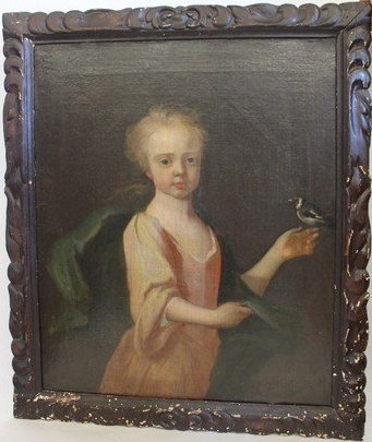 18th Century Painting of a Child Holding a Bird