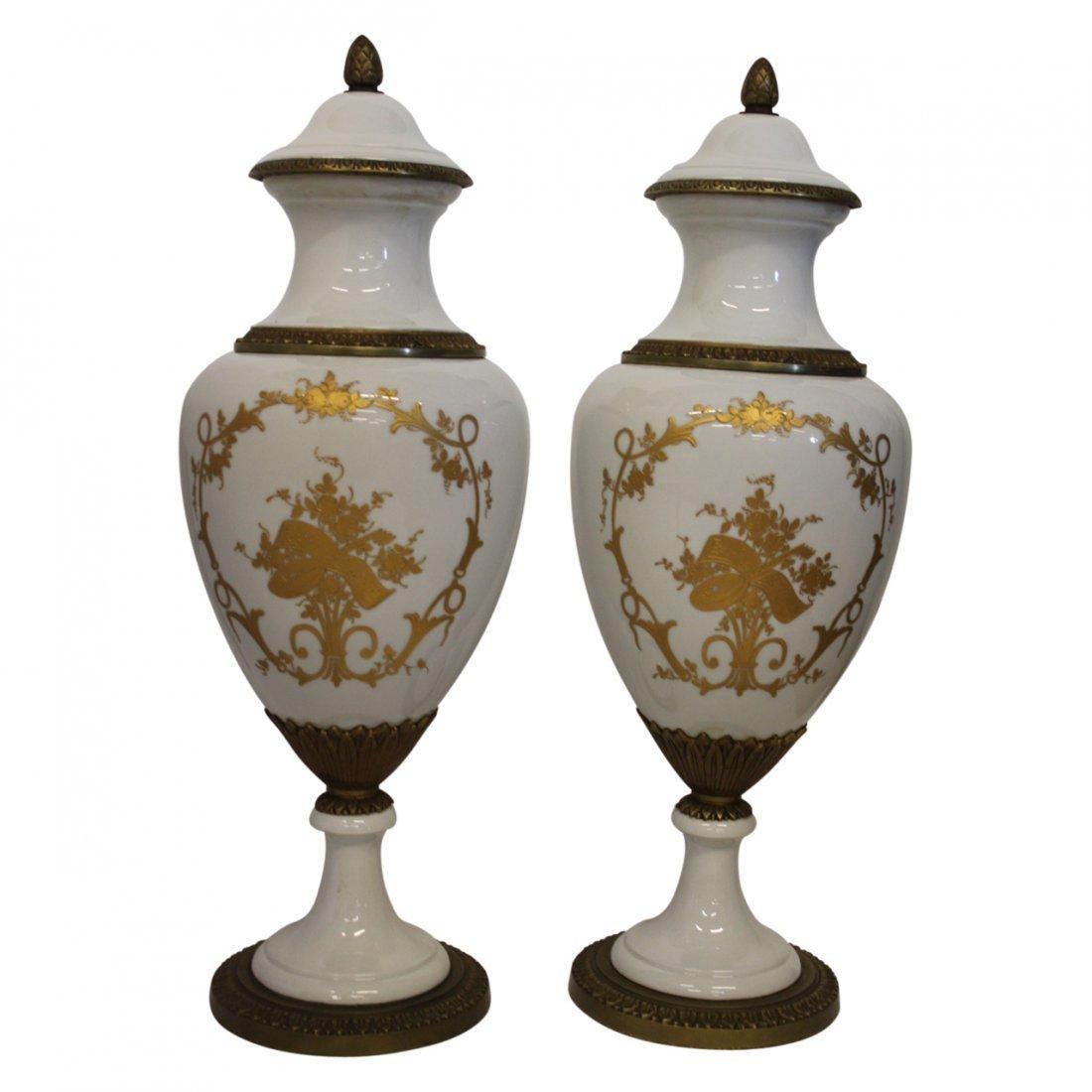 Pair of Large Gilt Metal Porcelain Urns Circa