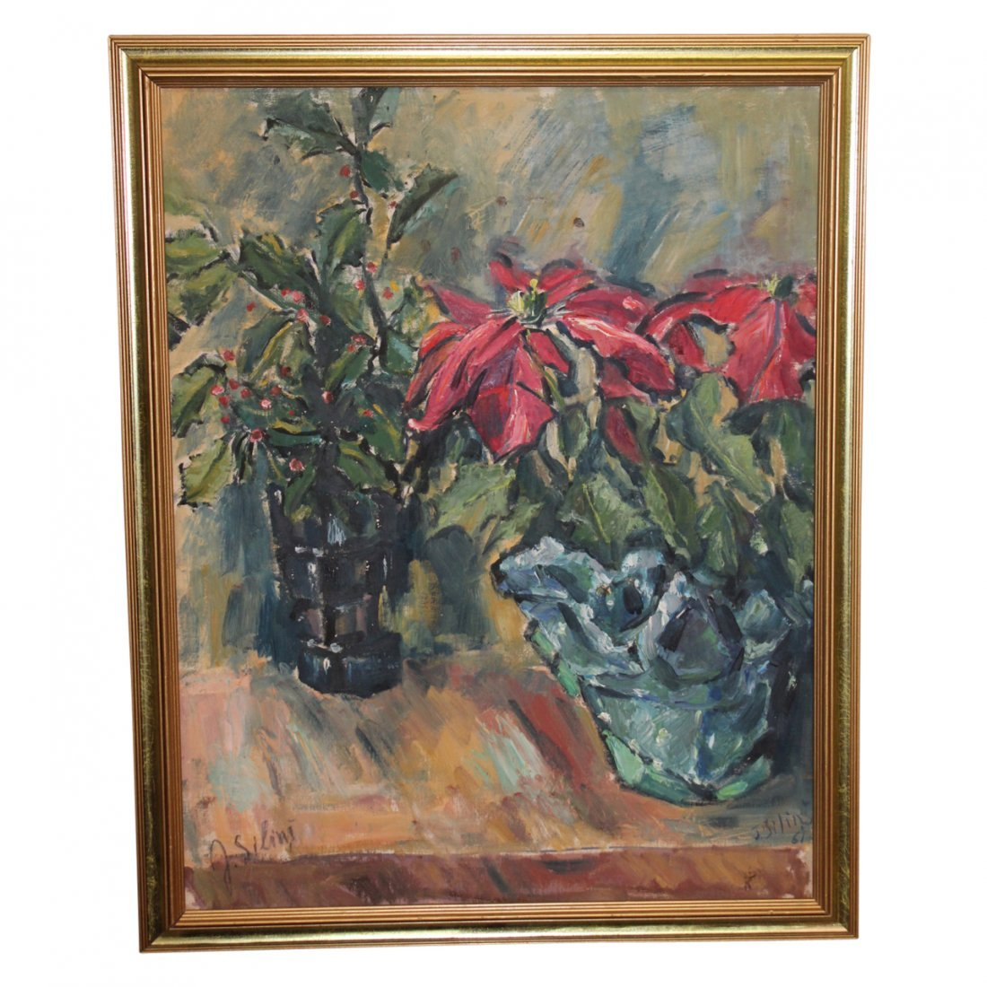 Painting of Flowers by J. Silinis 1961