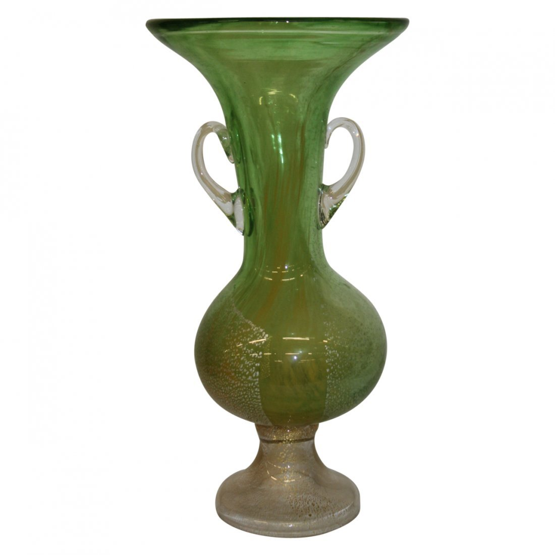 Large Green Art Glass Vase