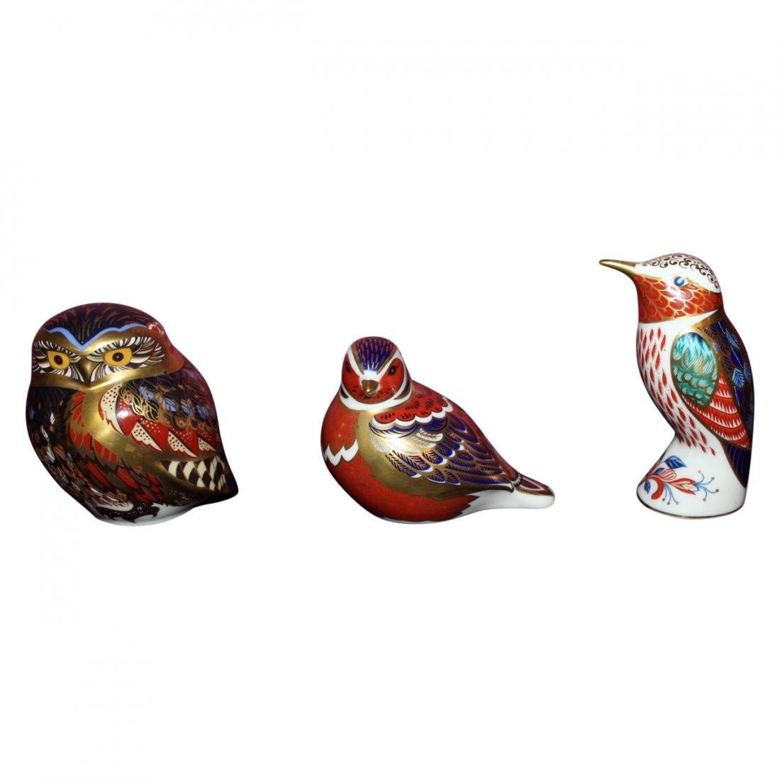 3 Royal Crown Derby Porcelain Birds