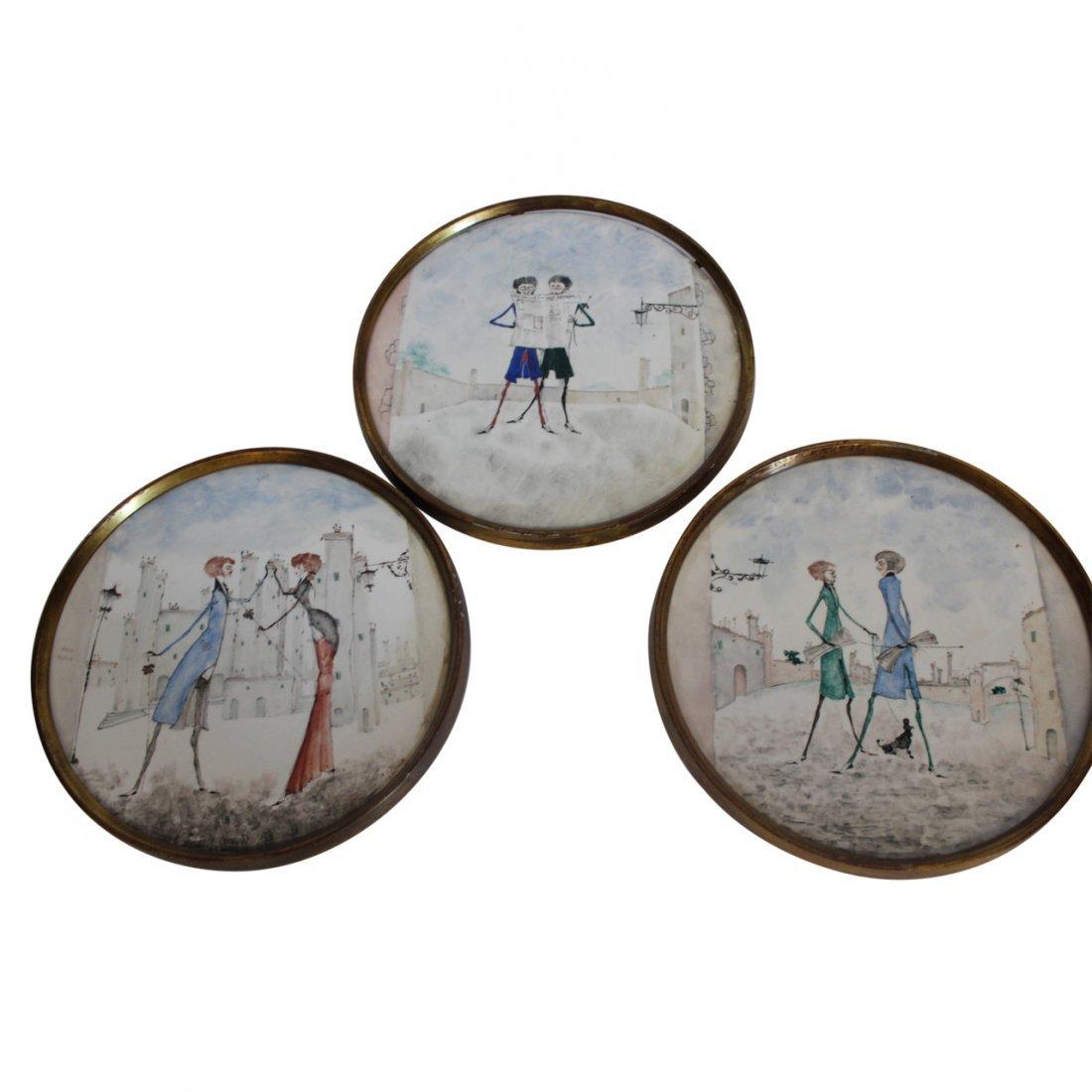 A. Miniati Porcelain Plaques (3)