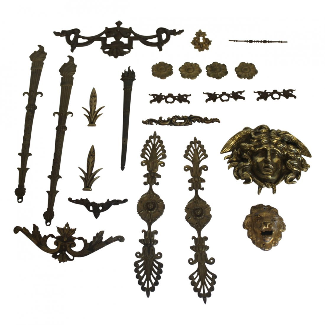 Group of Gilt Bronze and Brass Antique Hardware