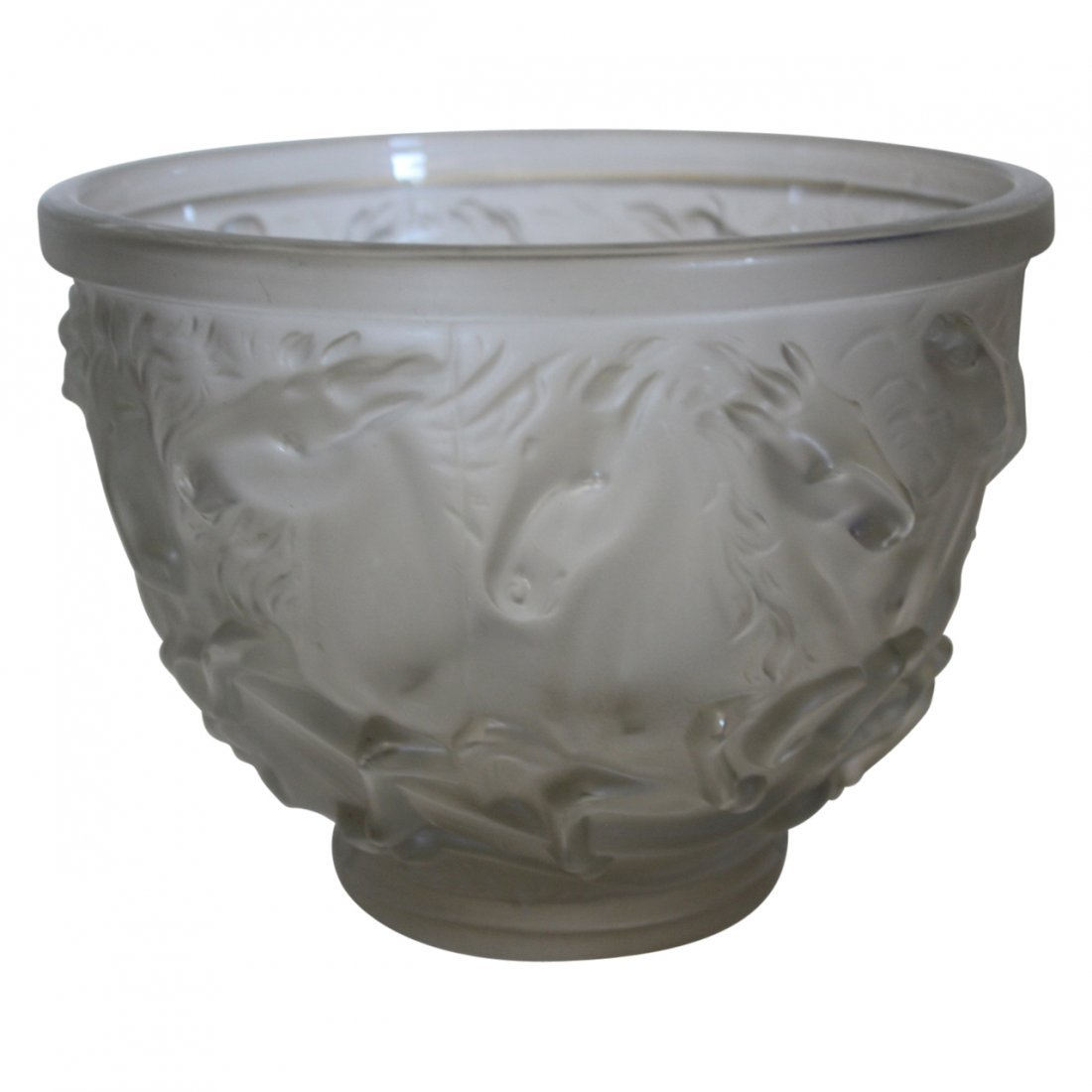 R. Lalique Art Glass Bowl with Horses Signed