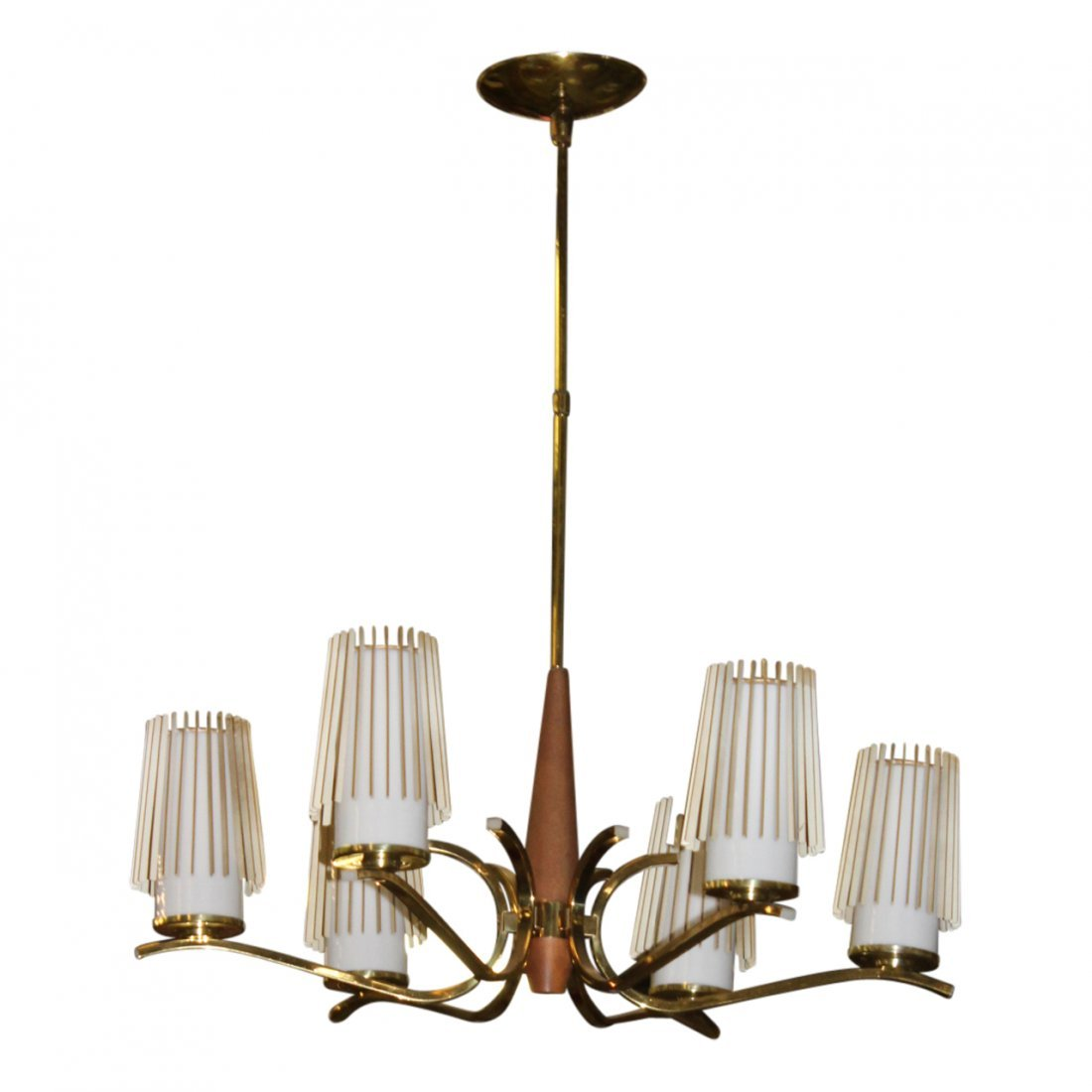 MCM Modern Atomic Style Glass Wood Brass Chandelier