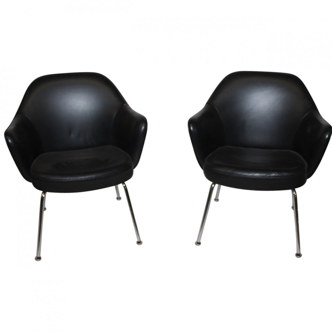 2 Black Upholstered Chrome Arm Chairs Attributed Knoll