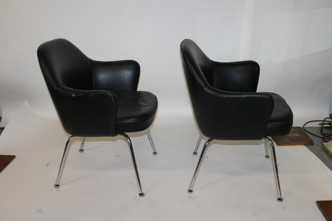 2 Black Upholstered Chrome Arm Chairs Attributed Knoll - 2