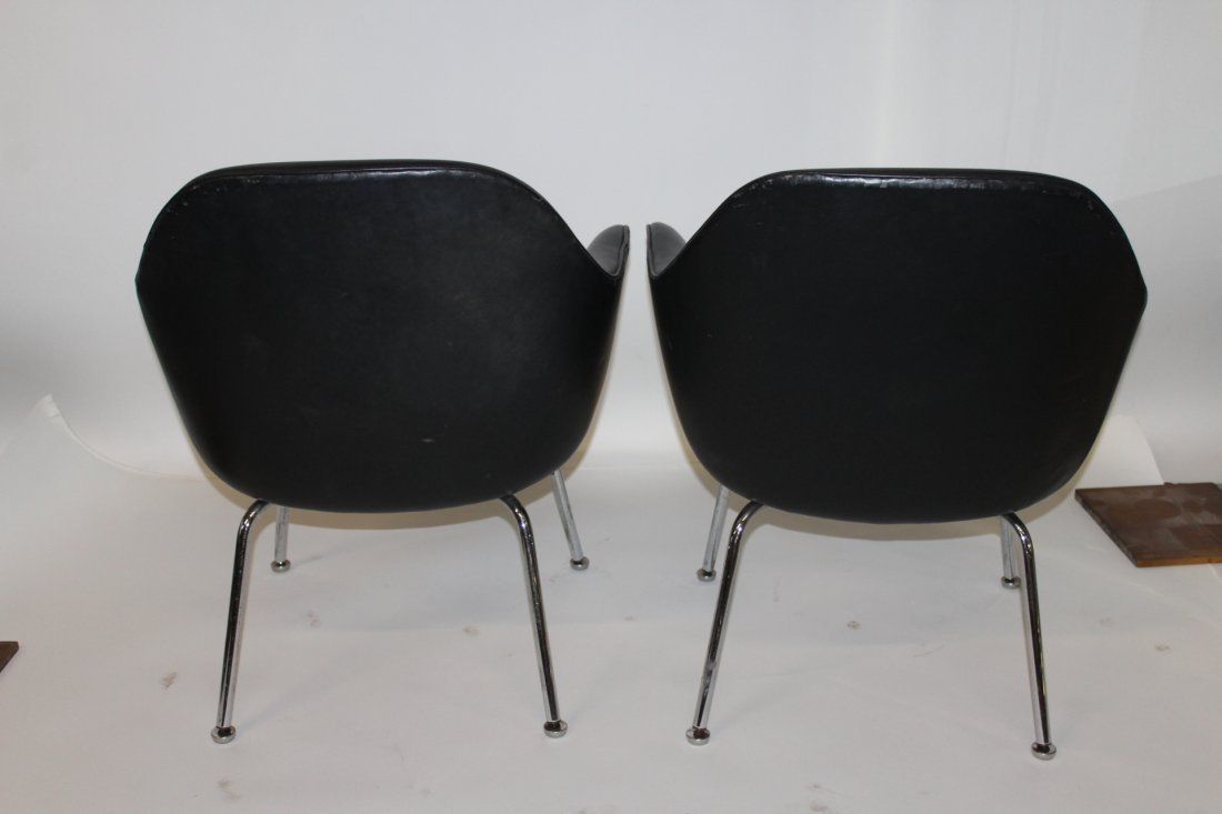 2 Black Upholstered Chrome Arm Chairs Attributed Knoll - 3