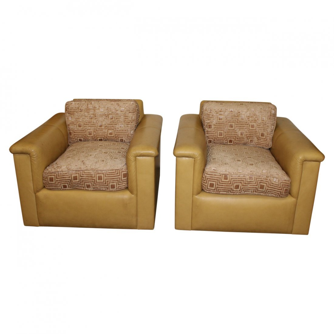 Pair J. Robert Scott Leather and Cloth Club Chairs