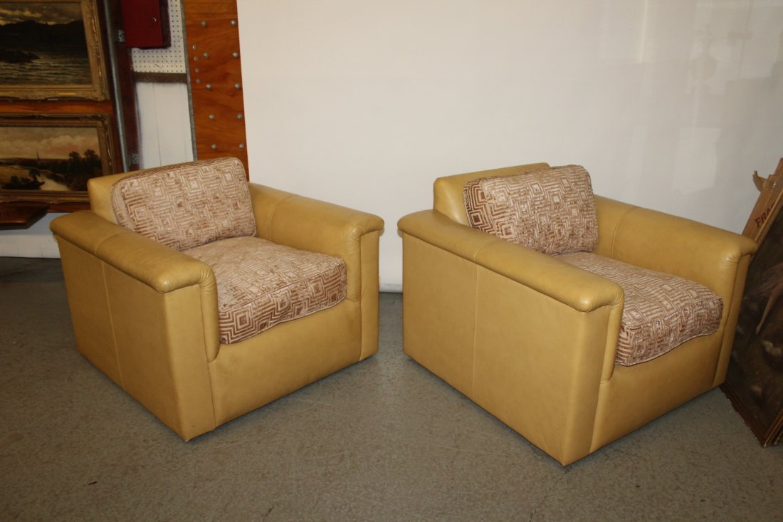 Pair J. Robert Scott Leather and Cloth Club Chairs - 2