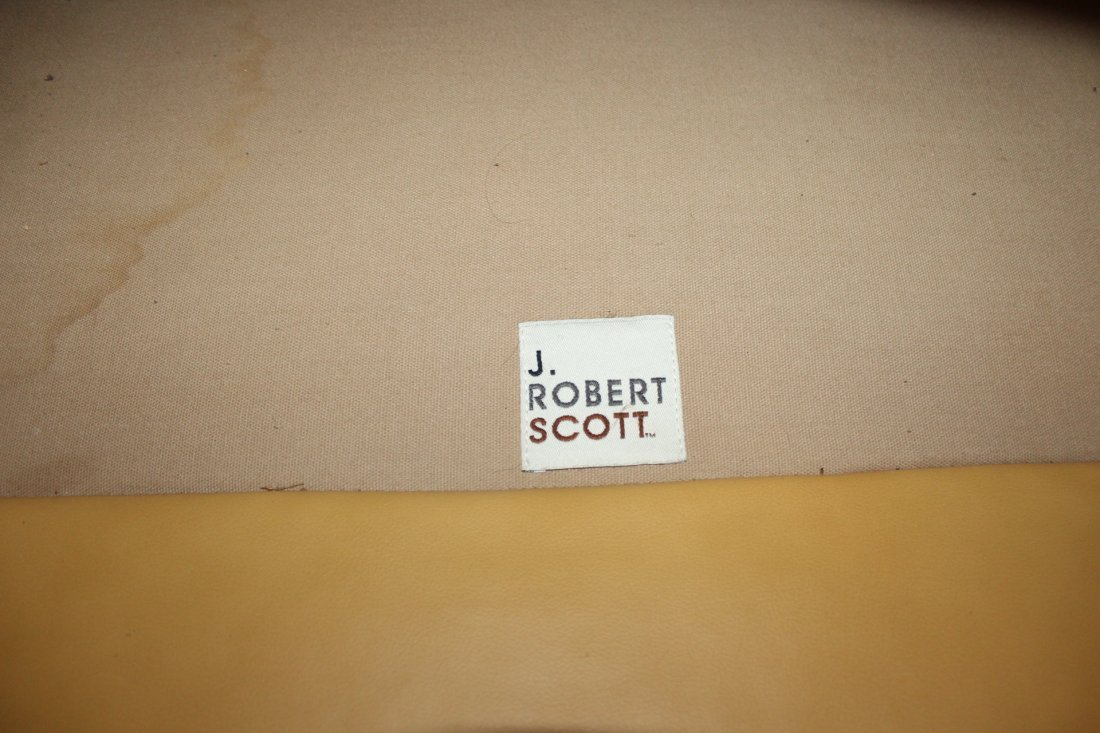 Pair J. Robert Scott Leather and Cloth Club Chairs - 3