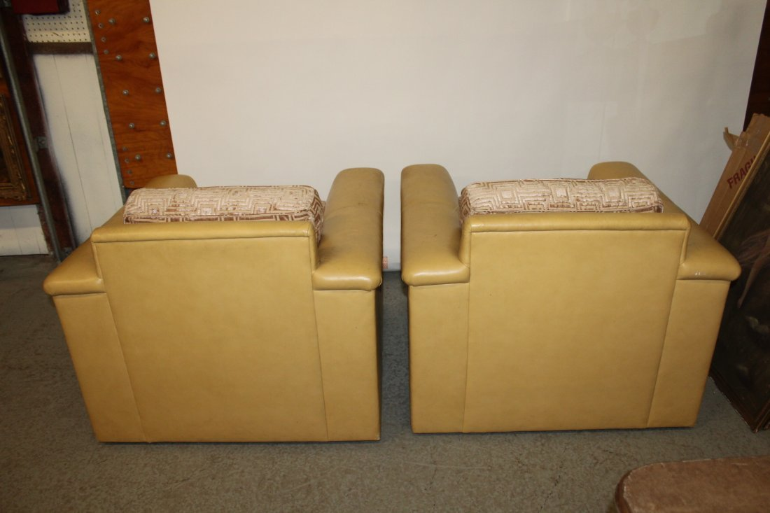 Pair J. Robert Scott Leather and Cloth Club Chairs - 4