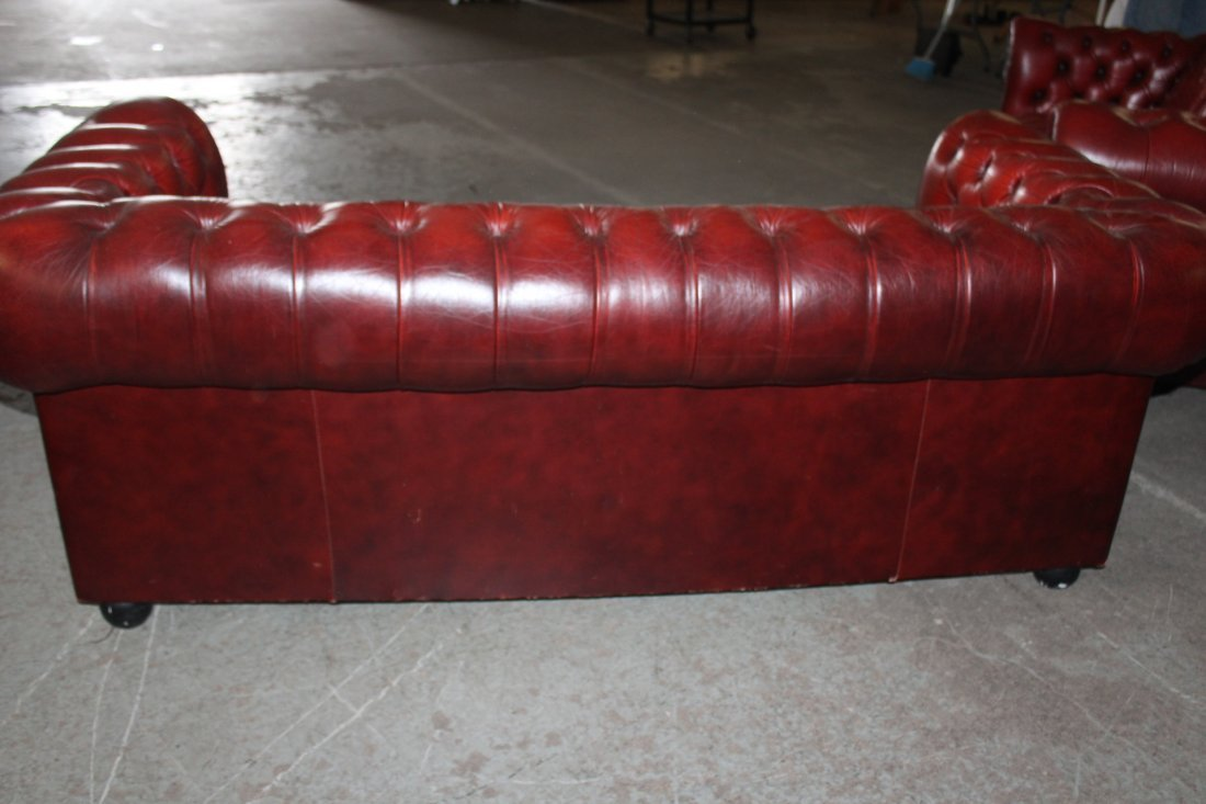 Pair of Red Leather Chesterfield Style Sofas - 2