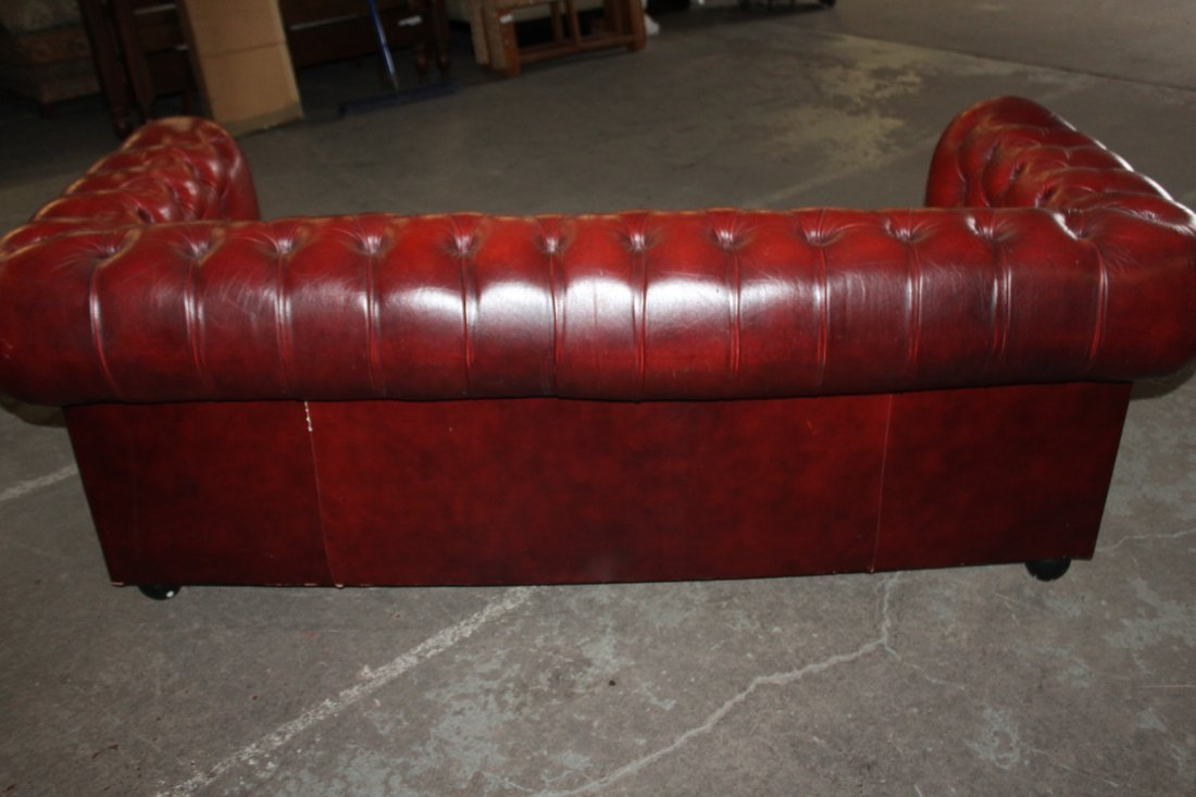 Pair of Red Leather Chesterfield Style Sofas - 3