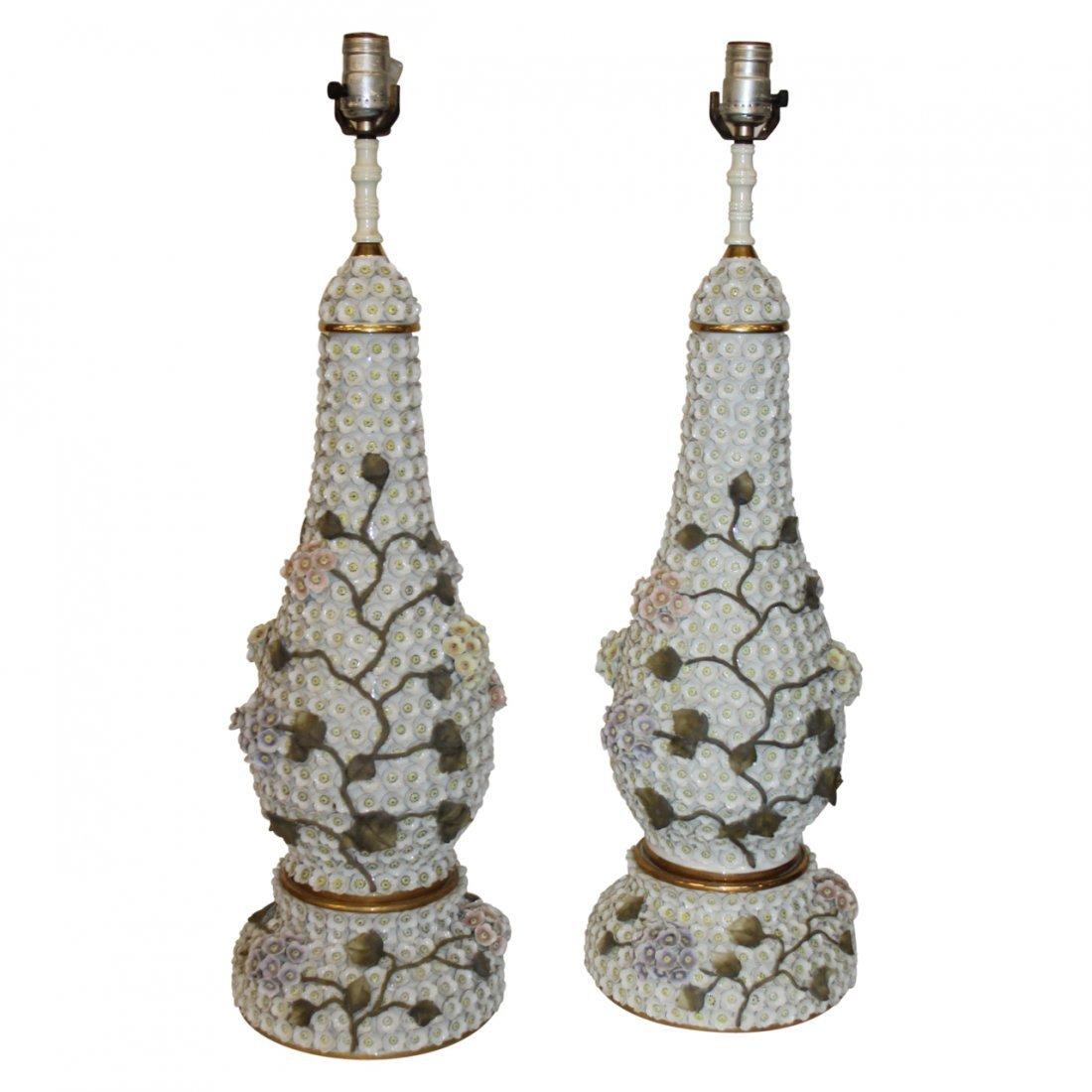 Pair 1950's Meissen Schneeballen Style Lamps