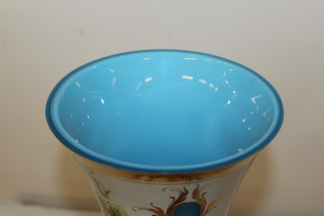 Murano Hand Painted Large art Glass Vase Signed - 4